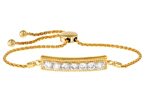 Pre-Owned Moissanite 14k Yellow Gold Over Silver Adjustable Bracelet 1.61ctw DEW