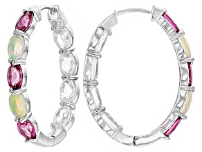 Pink Tourmaline, Ethiopian Opal And White Zircon Sterling Silver Hoop Earrings 7.62ctw