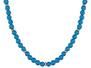 Blue Turquoise Sterling Silver Necklace 25.81ctw