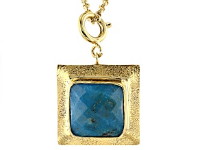 Turquoise 18k Yellow Gold Over Brass Charm With Chain