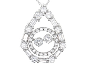Cubic Zirconia Sterling Silver Pendant With Chain 4.53ctw (2.77ctw DEW)