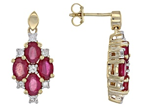 Red Ruby 10k Yellow Gold Earrings 4.51ctw