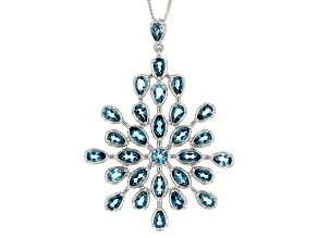 London Blue Topaz Sterling Silver Pendant With Chain 5.97ctw