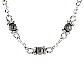 White Crystal Black Pearl Simulant Silver Tone Necklace