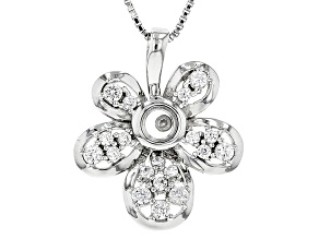 White Zircon Sterling Silver Floral Pendant With Chain .54ctw