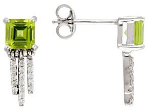 Green Peridot Sterling Silver Earrings. 1.27ctw
