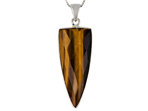 Brown Tigers Eye Sterling Silver Pendant With Chain