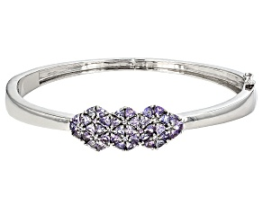 Blue Tanzanite Sterling Silver Bangle Bracelet 4.1ctw
