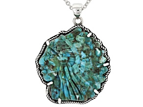 Turquoise Silver Man Wearing Headdress Pendant With Chain