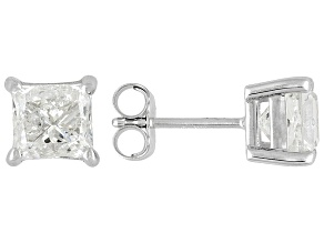 Diamond 2.00ctw Princess Cut 14k White Gold Stud Earrings