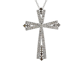 Champagne And White Diamond Rhodium Over Sterling Silver Pendant .81ctw