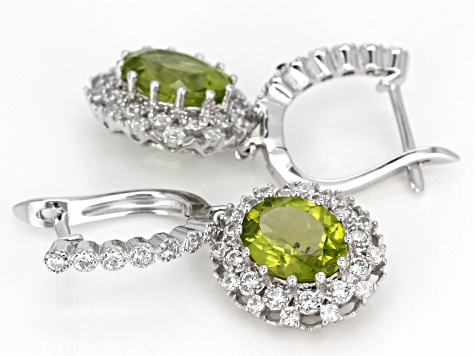 Pre-Owned Green Manchurian Peridot Sterling Silver Earrings 5.42ctw