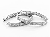 Pre-Owned White Cubic Zirconia Rhodium Over Sterling Silver Earrings 2.96ctw