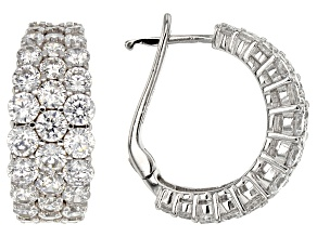 Pre-Owned White Cubic Zirconia Rhodium Over Sterling Silver Earrings 8.15ctw