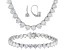 Pre-Owned Cubic Zirconia Silver Bracelet, Earrings And Necklace Set 102.30ctw