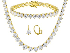 Pre-Owned Cubic Zirconia 18k yg over sterling Bracelet Earrings And Necklace Set 102.30ctw