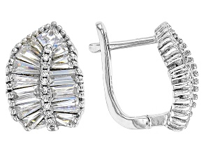 Pre-Owned White Cubic Zirconia Rhodium Over Silver Earrings 3.87ctw