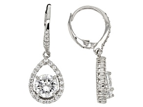 Pre-Owned White Cubic Zirconia Rhodium Over Sterling Silver Earrings 4.90ctw
