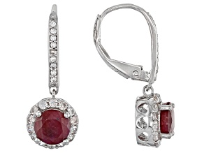 Pre-Owned Red india Ruby Sterling Silver Earrings 2.40ctw