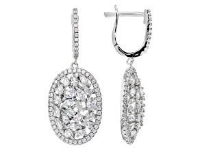 Pre-Owned White Cubic Zirconia Rhodium Over Sterling Silver Earrings 7.50ctw