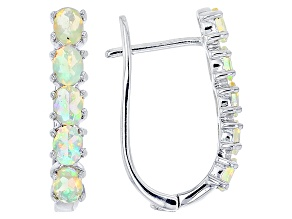 Pre-Owned Ethiopian Opal Sterling Silver Hoop Earrings 1.00ctw