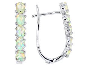 Pre-Owned Ethiopian Opal Sterling Silver Hoop Earrings 1.00ctw