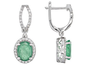 Pre-Owned Green Emerald Sterling Silver Earrings 4.61ctw
