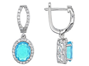 Pre-Owned Blue Ethiopian Opal Sterling Silver Earrings 3.28ctw