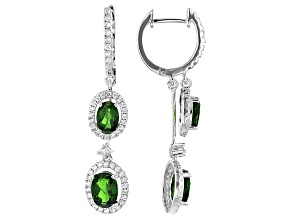 Pre-Owned Green Chrome Diopside Sterling Silver Earrings 2.95ctw