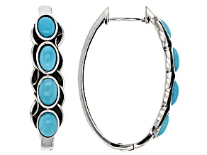 Pre-Owned Turquoise Sleeping Beauty Sterling Silver Hoop  Earrings