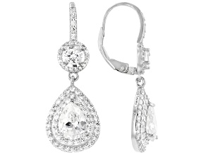 Pre-Owned White Cubic Zirconia Rhodium Over Sterling Silver Earrings 5.28ctw