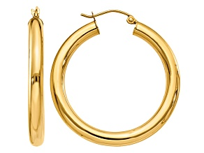 Pre-Owned 14K Yellow Gold Polished 4mm Lightweight Tube Hoop Earrings