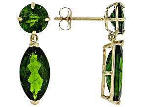 Pre-Owned Green Russian Chrome Diopside 10k Yellow Gold Earrings 4.80ctw