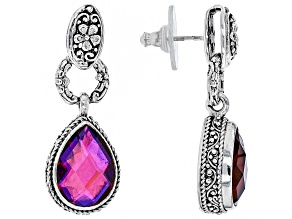 Pre-Owned Rainbow Red Volcanic Quartz Triplet Silver Earrings