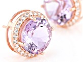 Pre-Owned Purple lavender amethyst 18k rose gold over silver earrings 11.03ctw