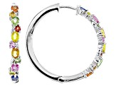 Pre-Owned Multi-Sapphire Sterling Silver Hoop Earrings 3.19ctw