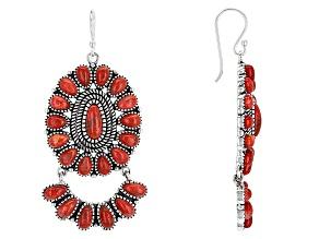 Pre-Owned Red Sponge Coral Silver Dangle Earrings