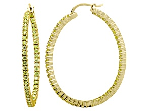 Pre-Owned Bella Luce® 6.00ctw Yellow Diamond Simulant 18k Over Silver Oval Hoop Earrings