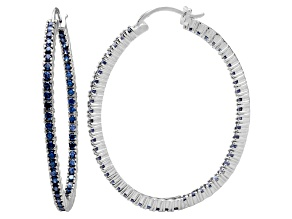 Pre-Owned Bella Luce® 6.00ctw Tanzanite Simulant Rhodium Over Silver Oval Hoop Earrings