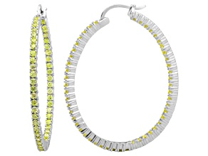 Pre-Owned Bella Luce® 6.00ctw Yellow Diamond Simulant Rhodium Over Silver Hoop Earrings