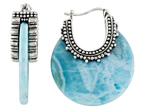 Pre-Owned Blue Larimar Sterling Silver Hoop Earrings.