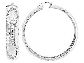 Pre-Owned Sterling Silver Diamond Cut Tube Hoop Earrings