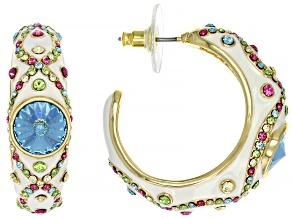 Pre-Owned Multicolor Crystal White Enamel Gold Tone J Hoop Earrings