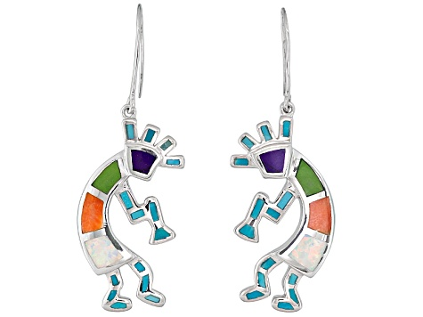 Pre-Owned Southwest Style By Jtv™ Turquoise,Sugilite,Shell, Opal Simulant Silver Earrings