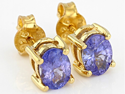 Pre-Owned Blue tanzanite 18k yellow gold over silver stud earrings
