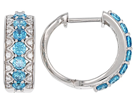 Pre-Owned Blue & White Cubic Zirconia Rhodium Over Sterling Silver Hoop Earrings 3.79ctw