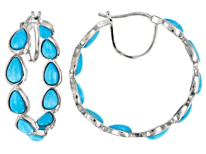 Pre-Owned Blue turquoise rhodium over silver hoop earrings
