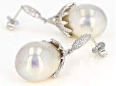 Pre-Owned 16mm Cultured Freshwater Pearl & Bella Luce(TM) Diamond Simulant Rhodium Over Silver Earri
