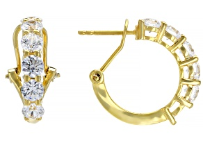 Pre-Owned White Cubic Zirconia 18K Yellow Gold Over Sterling Silver Earrings 3.22ctw
