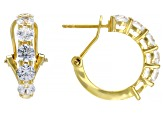 Pre-Owned White Zirconia From Swarovski ® 18K Yellow Gold Over Sterling Silver Earrings 3.22ctw